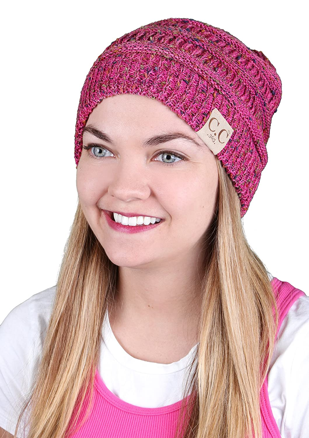 1dcbf4327aa23 H-365-824 Funky Junque All Season Beanie - Bubble Gum Pink Confetti at  Amazon Women s Clothing store