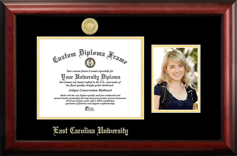 NCAA East Carolina Pirates Unisex East Carolina University 10.75 x 8.25h Gold Embossed Diploma Frame with 5 x 7 Inches Portrait Gold Embossed Diploma Frame with 5 x 7 Inches Portrait Brown One Size