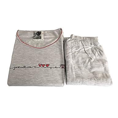 786cb24240c4 LOVABLE pigiama donna manica lunga grigio/rosso 82% cotone 18% viscosa (ITA