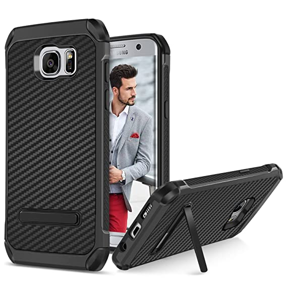 buy online be4e7 8eae9 BENTOBEN Galaxy S7 Edge Case, Samsung Galaxy S7 Edge Kickstand Case, 2 in 1  Hybrid Hard PC Soft TPU Laminated with Carbon Fiber Texture Shockproof ...