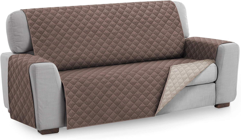 Textilhome - Funda Cubre Sofá Malu, 3 Plazas, Protector para Sofás Acolchado Reversible. Color Marrón C/2