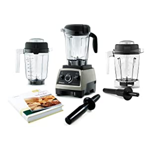 Vitamix Professional Series 750 Brushed Stainless Steel 64 Ounce Blender Set with 32 Ounce Dry Container and Bonus 48 Ounce Wet Container