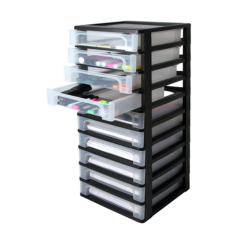 35,5 x 26 x 29,5 cm Aufbewahrung f/ür Schreibtisch frostwei/ß // transparent Kunststoff Iris Organizer Chest OCH-2021 Schubladen-// Tischschubladen-// B/ürobox