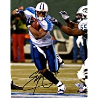 """$109 » Eddie George Tennessee Titans Autographed 8"""" x 10"""" White Running Photograph - Autographed NFL Photos"""