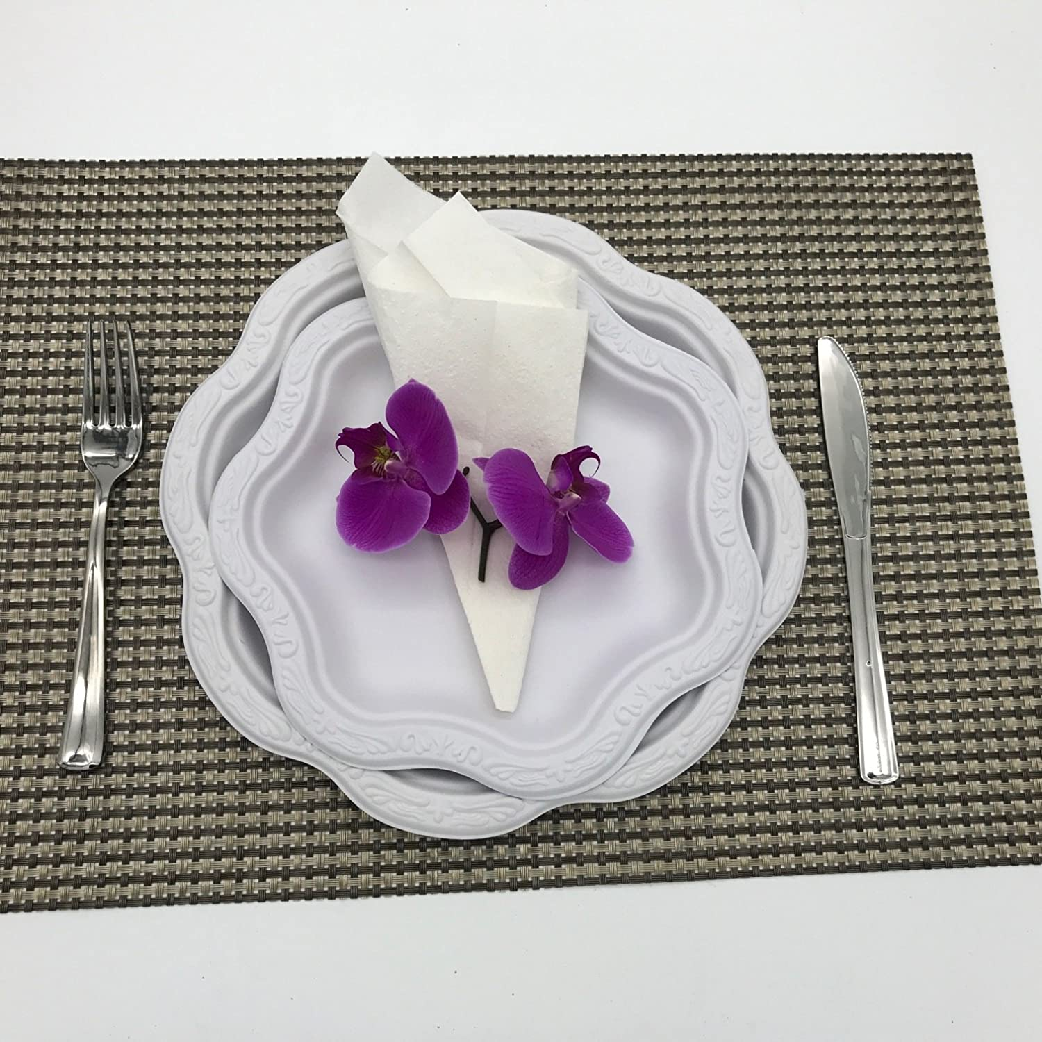 """[50 COUNT] 9"""" inch Disposable Floral Medium Premium White Plates - Acanthus Collection Natural Sugarcane Bamboo Fibers Bagasse 100% Byproduct Eco Friendly Environmental Plastic Paper Plate Alternative"""