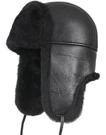 5440ea8c0db Zavelio Unisex Shearling Sheepskin Leather Aviator Russian Ushanka Trapper  Winter Fur Hat