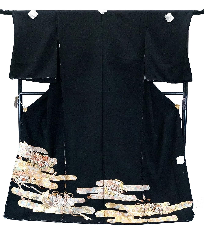 手縫い仕立て付 正絹 黒留袖 手描き友禅 かすみ文様に文箱 to-168 結婚式 婚礼 和装 B078LJVBJS