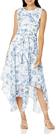 Calvin Klein Women's Sleeveless Midi Dress with Asymmetrical Hem