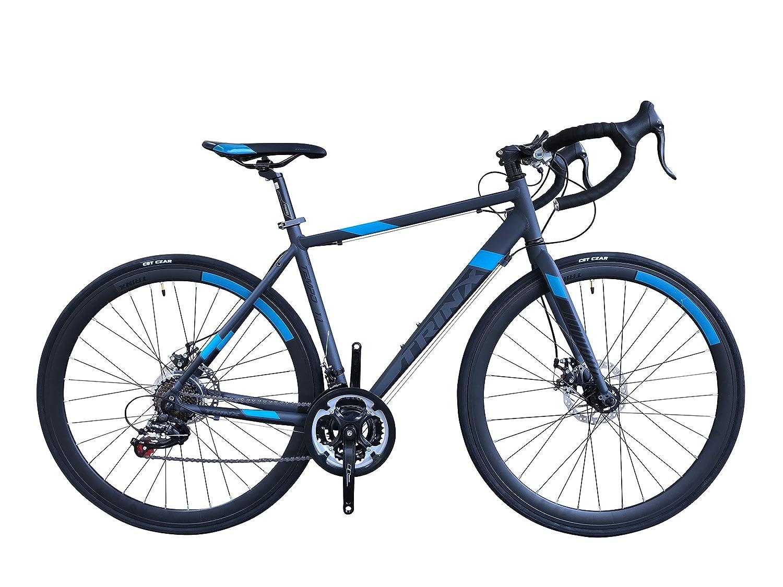 TRINX(トリンクス) 【ロードバイク】ダブルディスクブレーキ Shimano シマノ21Speed 軽量 アルミフレーム700C TEMPO1.1-18ディスクブレーキロードエントリーモデル TEMPO1.1 グレー/ブルー 460mm B07DPPY4GV