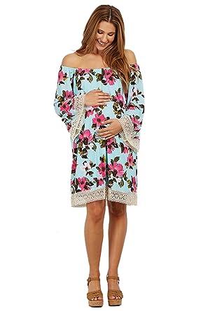 PinkBlush Maternity Light Blue Floral Crochet Trim Off Shoulder Dress, Large
