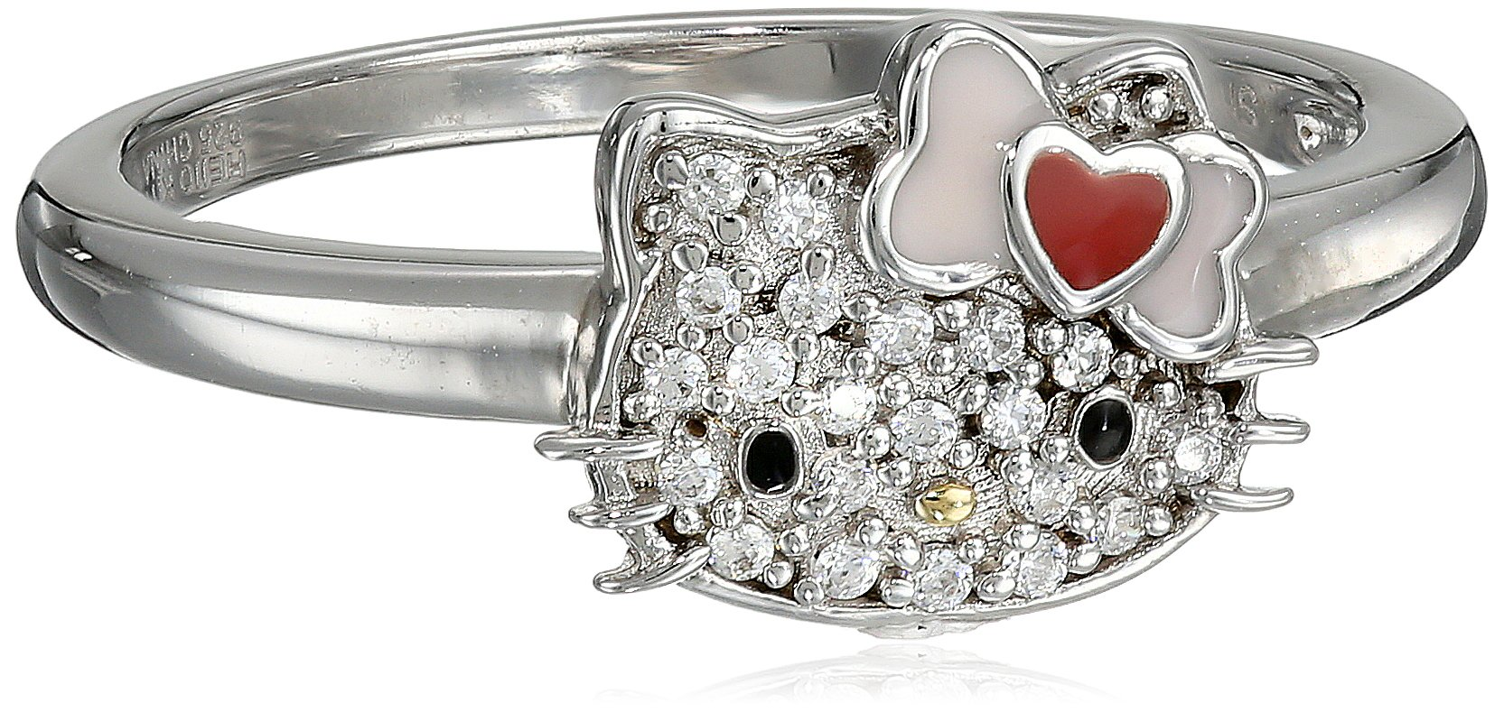 Hello Kitty Sterling Silver Heart Bow Swarovski Crystal Ring
