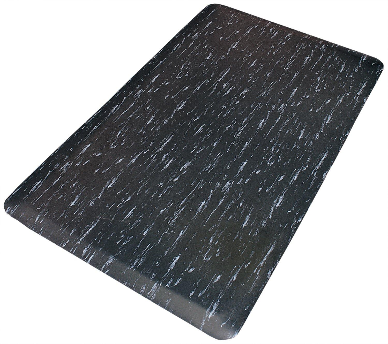 Rhino Mats TT-2436BW Marbleized Tile Top Anti-Fatigue Mat, 2' Width x 3' Length x 1/2'' Thickness, Black/White