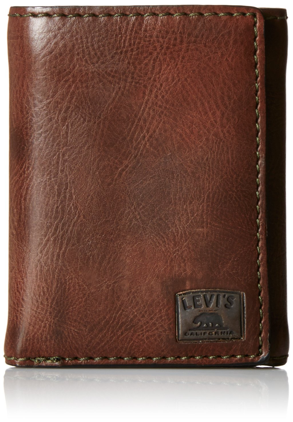 Levi's Men's Trifold Wallet - Sleek and Slim Includes ID Window and Credit Card Holder,Brown Stitch by Levi's