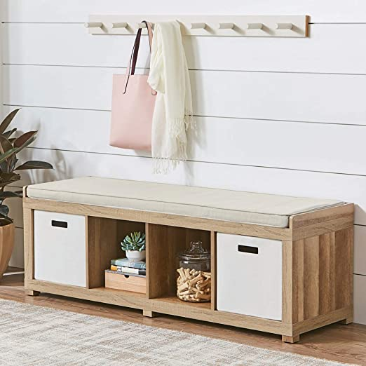 Better Homes and Gardens 4-Cube Organizer Storage Bench - Rustic Gray (Rustic Gray)