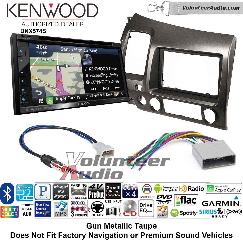 ボランティアオーディオKenwood dnx574sダブルDINラジオインストールキットwith GPSナビゲーションApple CarPlay Android自動Fits 2006 – 2011ホンダシビック( Earthトープブラウン) B07C2BXHFN