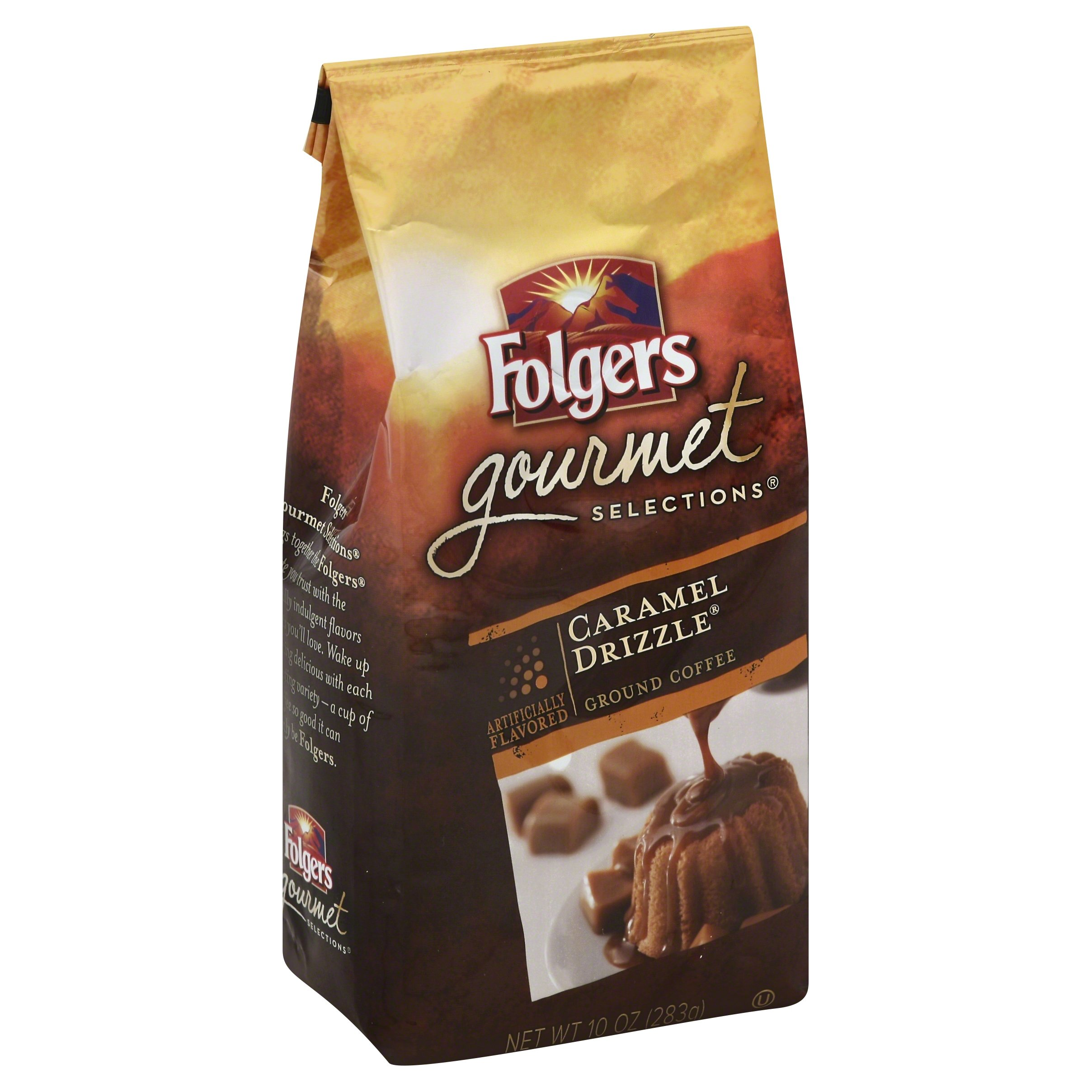 Folgers Caramel Drizzle Flavored Ground Coffee, 10 Ounce