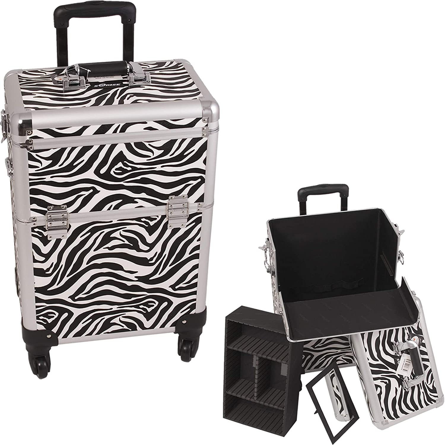 SUNRISE Professional Makeup Case on Wheels E6301 Aluminum, Removable Tray with Adjustable Dividers, 4 Wheel Spinner, Locking with Mirror, Zebra