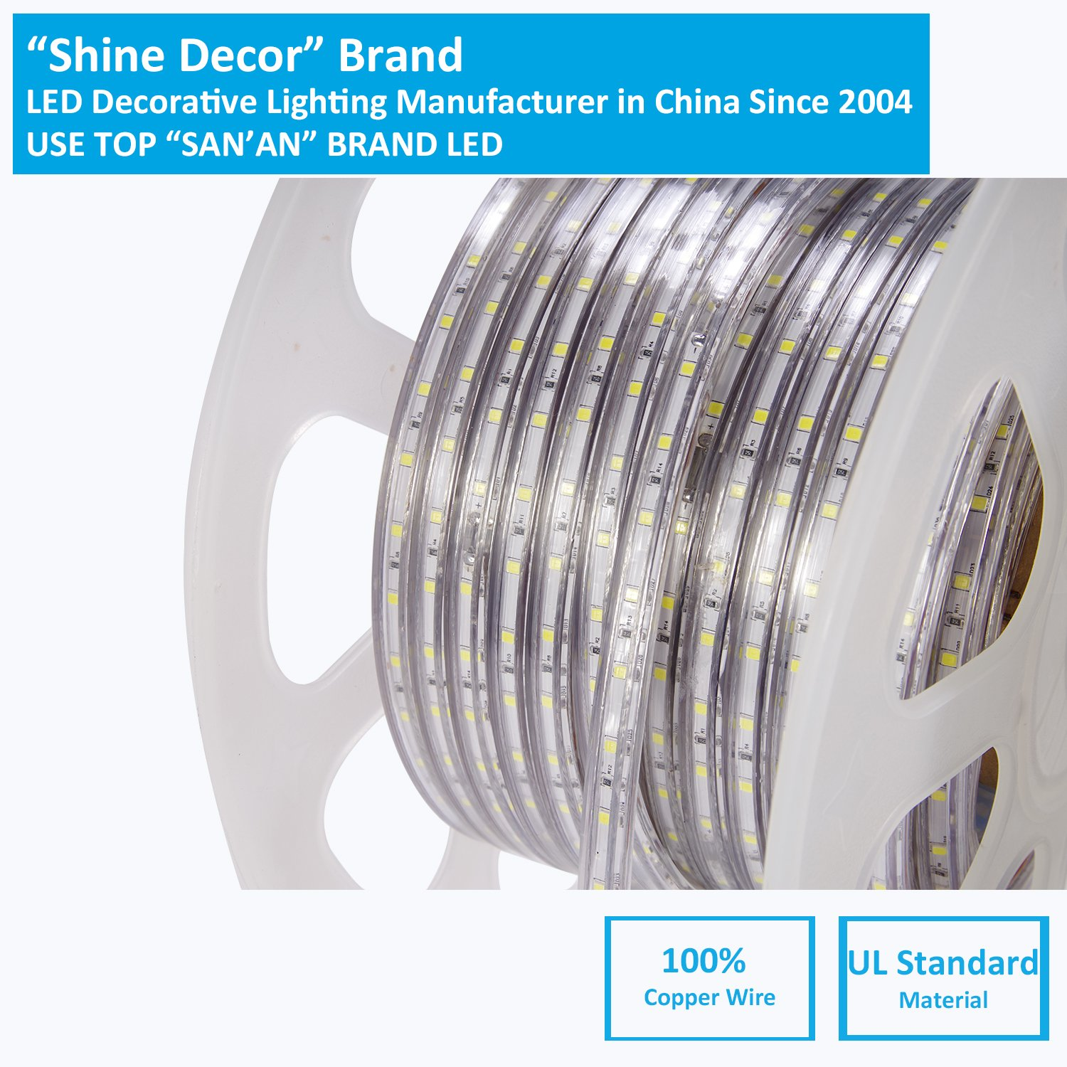 shine decor dimmable Led Strip Lights, Rope Light, High voltage 110V-120V, SMD 2835 60Led/M, 150ft/roll, 3000K Warm White, With plastic tube cover, flexible indoor/outdoor use, Accessories included