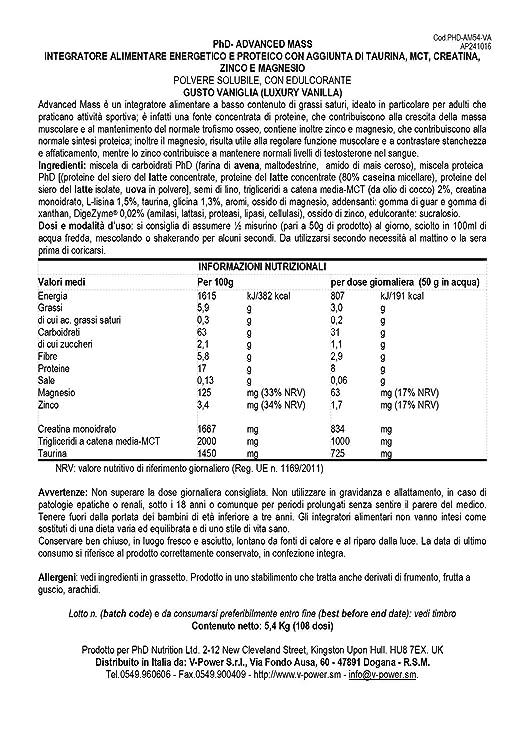 PhD Advanced Mass Luxury Vanilla - 5400 gr: Amazon.es: Salud ...