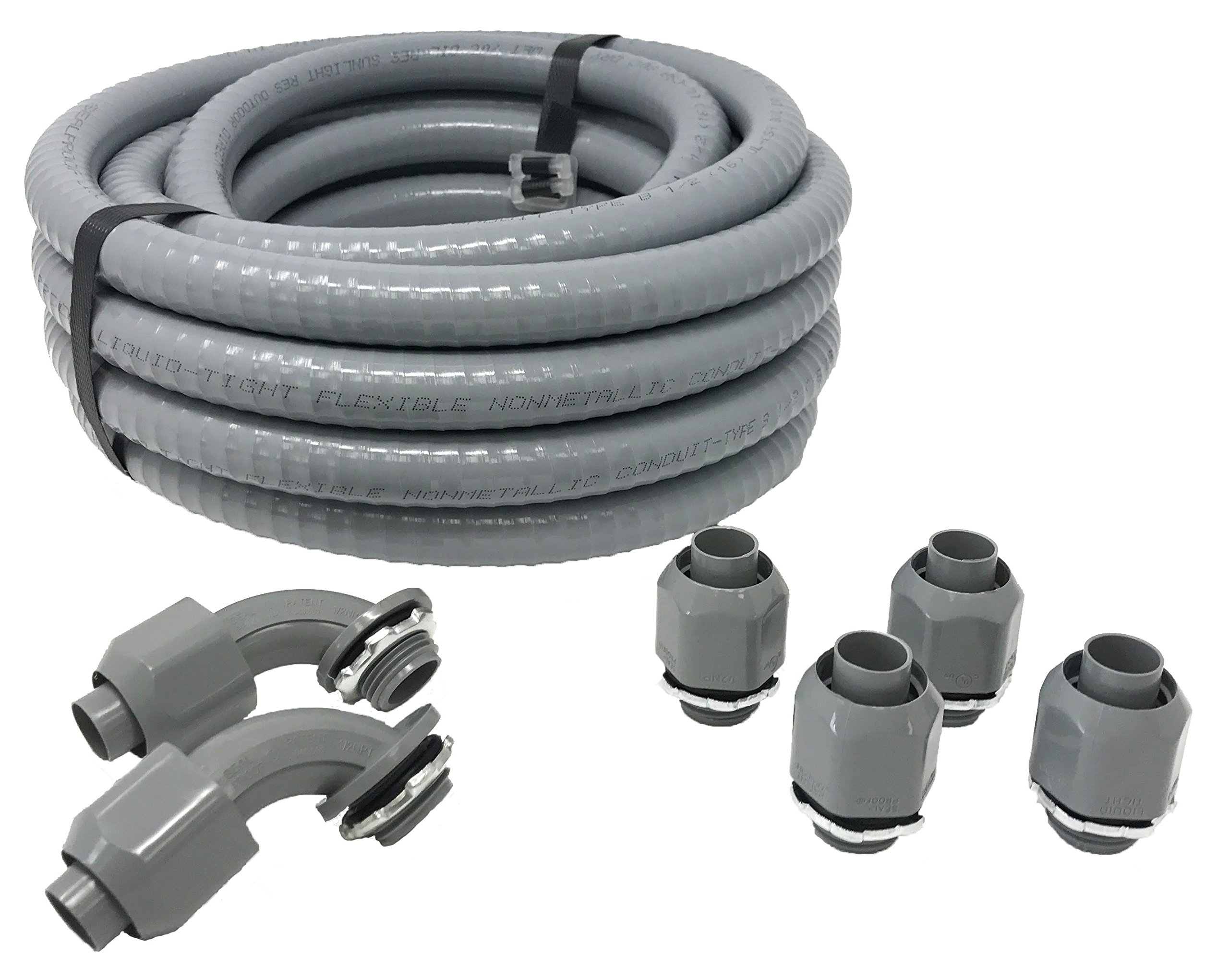 Sealproof Non-metallic Liquid-Tight Conduit and Connector Kit, 1/2-Inch 25 Foot Flexible Electrical Conduit Type B with 4 Straight and 2 90-Degree Conduit Connector Fittings, 1/2'' Dia