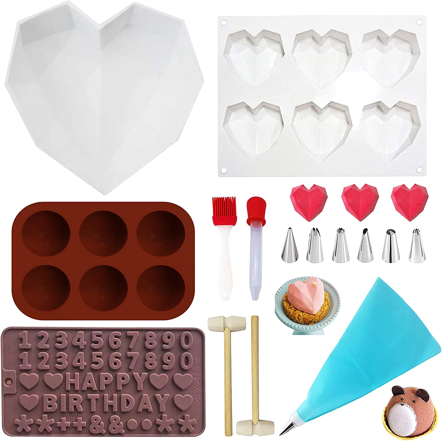 JNYUBND Diamond Heart Love Shape Mousse Cake Chocolate Silicone Mold Trays, Food Grade & BPA Free Not Sticky Mould, for Home Kitchen DIY Baking Tools Gift Set