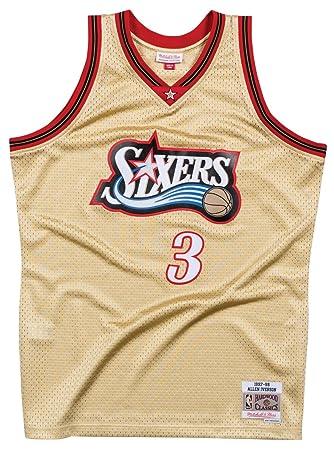 Mitchell & Ness Allen Iverson Philadelphia 76ers NBA - Camiseta de tirantes, color dorado,