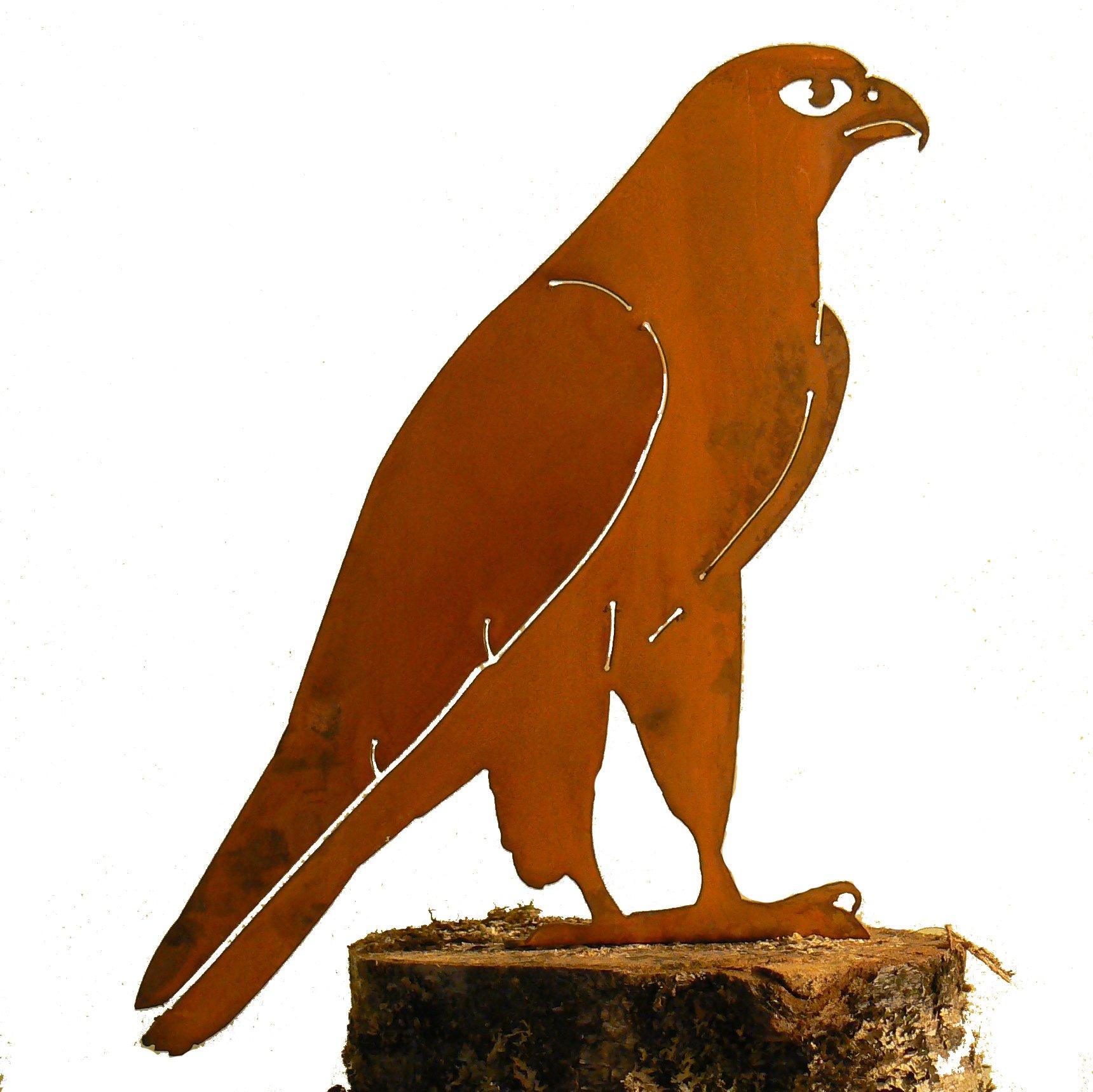 Elegant Garden Design Peregrine Falcon, Steel Silhouette with Rusty Patina