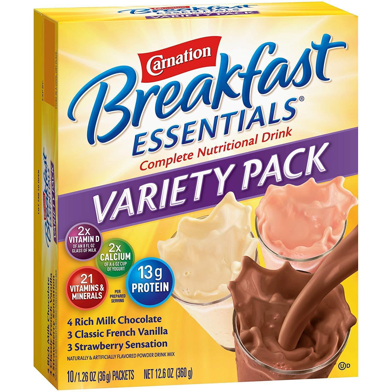 Carnation Breakfast Essentials Variety Flavor 36 Gram Individual Packet Powder, 5000095004 - Case of 60 by Ensur