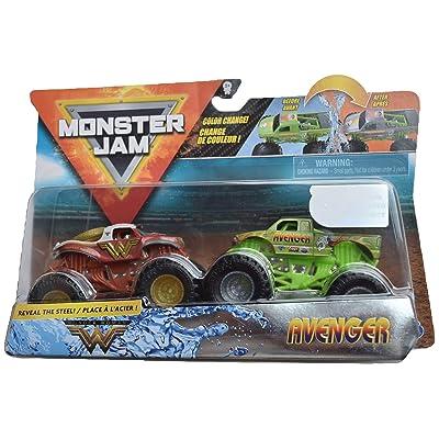 MonsterJam 1:64 Scale Color Change Wonder Woman Vs Avenger: Toys & Games