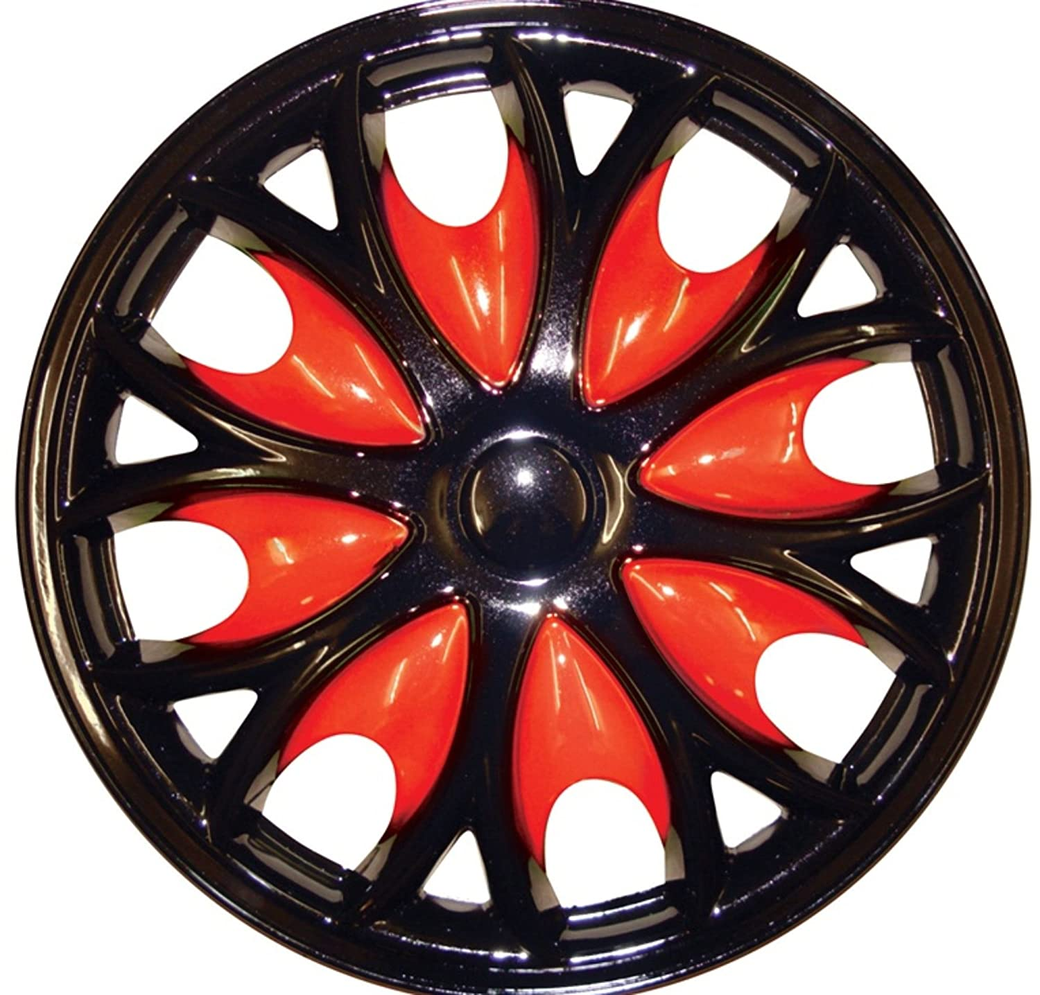 WLW2-F104 XtremeAuto Black Silver Blue Red Wheel Trim Set x 4 15 BLACK WITH BLUE PIN STRIPE WHEEL TRIM