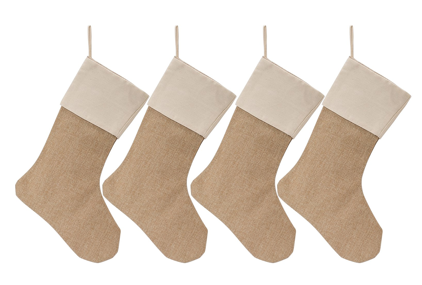 WeiVan Christmas Stocking Plain Burlap Stocking Decorum, Large