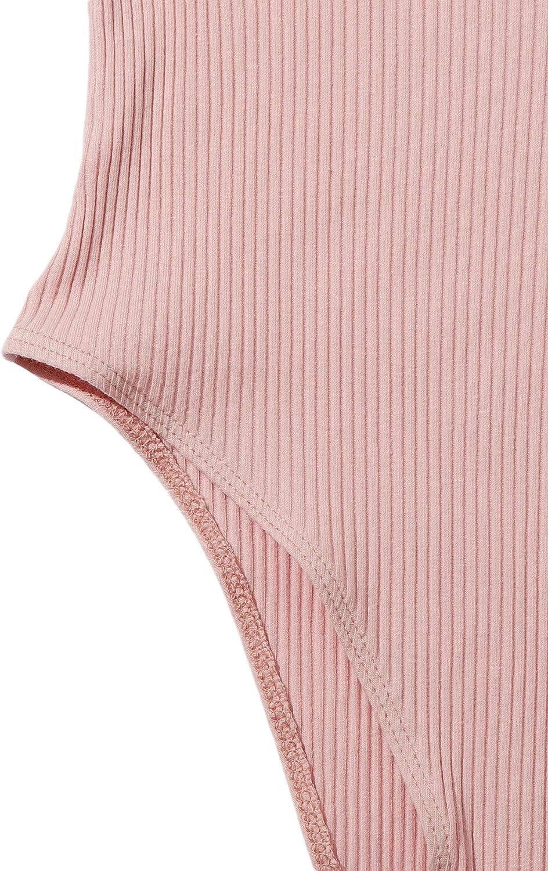 Romwe Womens Embroidered//Solid Sleeveless Spaghetti Strap Rib Knit Bodysuit