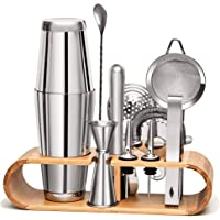 11 Pieces Mixology Bartender Kit by Mixologic: 304 Stainless Steel Boston Cocktail Shaker Bar Set With Sleek Bamboo…