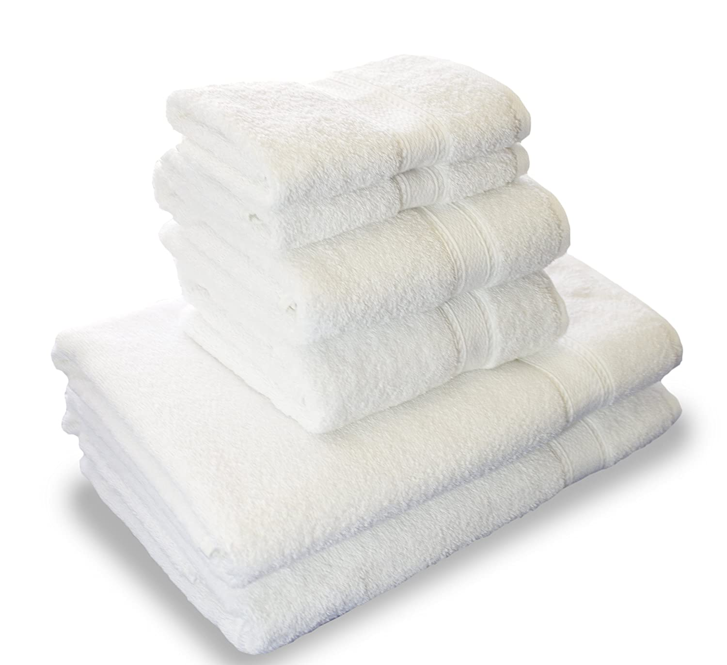 Luxury Hotel & Spa set of 6-piece Towels, 750GSM,100% Long Staple Combed Cotton. Premium set of 2 bath towels, 2 hand towels, 2 washcloths, Color (White) Mandalay Brands