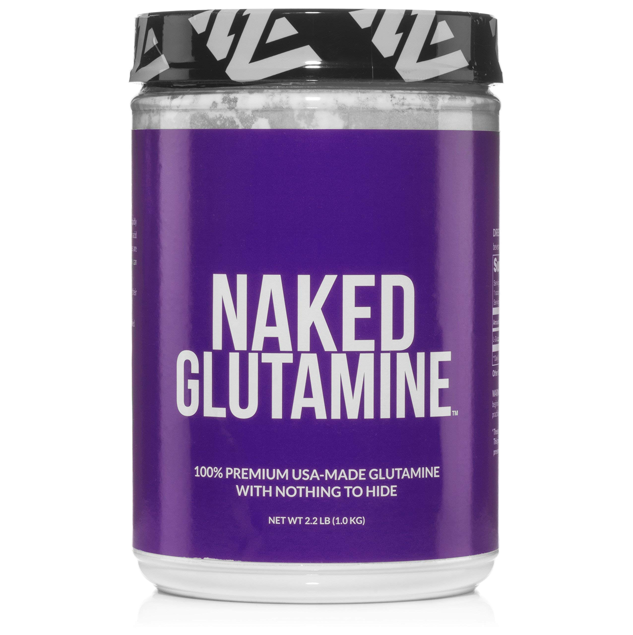 Pure L-Glutamine Made in The USA - 200 Servings - 1,000g, 2.2lb Bulk, Vegan, Non-GMO, Gluten and Soy Free. Minimize Muscle Breakdown & Improve Protein Synthesis. Nothing Artificial by NAKED nutrition