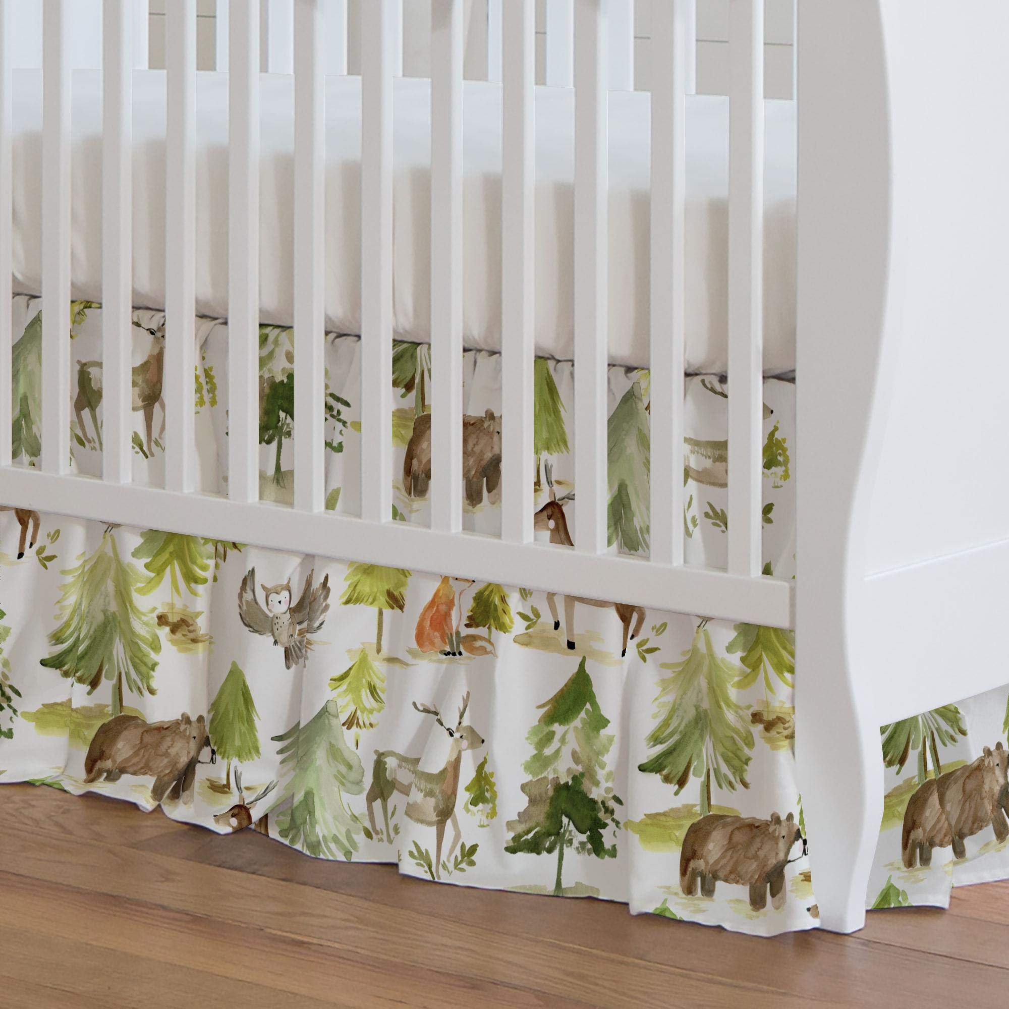 Carousel Designs Painted Forest Crib Skirt 17-Inch Gathered 17-Inch Length - Organic 100% Cotton Crib Skirt - Made in The USA by Carousel Designs