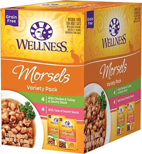 Wellness Healthy Indulgence Natural Grain Free Wet Cat Food Pouches Morsels Variety Pack