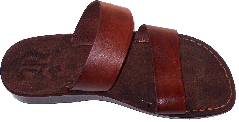 Holy Land Market Genuine Leather and Suede Sandals/Flip Flops (Jesus) -Suede I Camel Trademark - EU 43