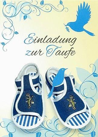 Einladungskarten Taufe Junge Mit Innentext Motiv Blaue Schuhe 10  Klappkarten DIN A6 Mit Weißen Umschlägen Im