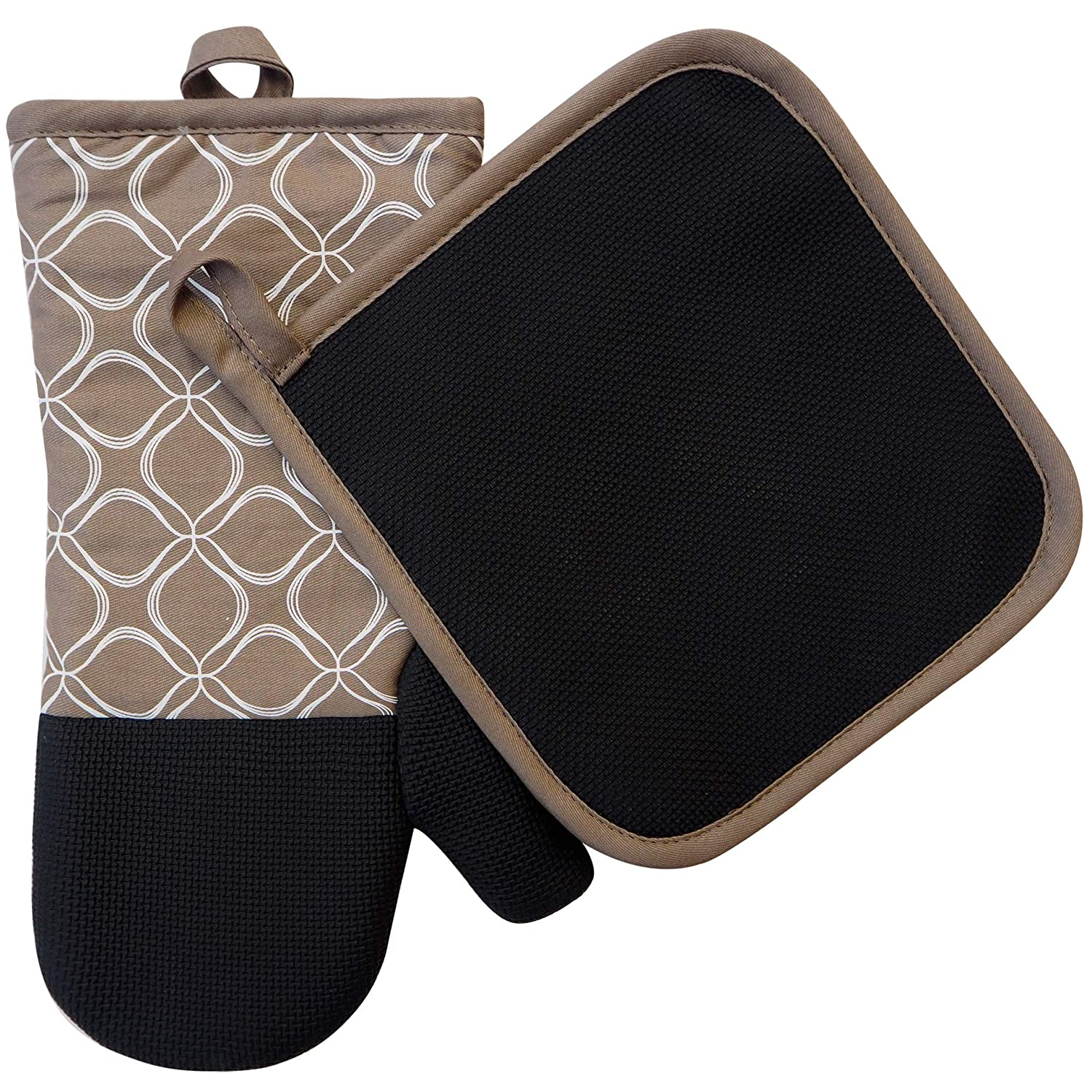 EnjoyLife Inc Shaped Oven Mitts Pot Holders Set of 2 Kitchen Set Cotton Neoprene Silicone Non-Slip Grip, Heat Resistant, Oven Gloves BBQ Cooking Baking, Grilling, Machine Washable (Tan Neoprene)