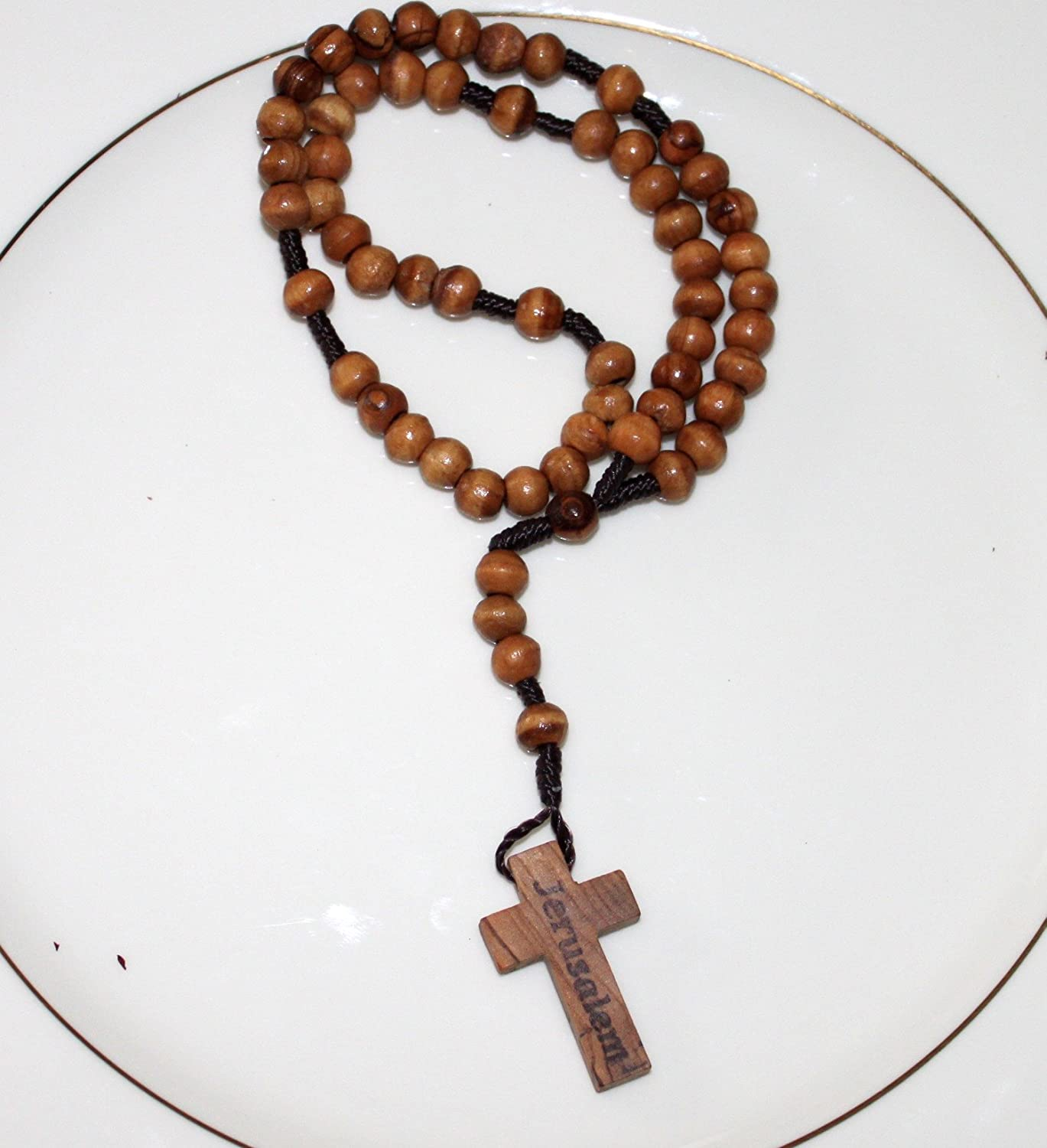 FavorOnline Original Jerusalem Olive Wood Rosary From The Holy Land In A Cellophane Pouch 6066686