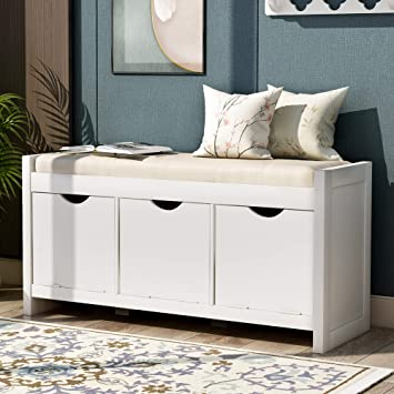 Amazon.com: Storage Bench Entryway Bench With Removale Cushion And 3 Flip Lock Storage Cubbies For Living Room Entryway, Antique White: Kitchen & Dining