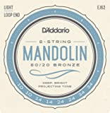 D'Addario Cordes en bronze phosphoreux pour mandoline D'Addario EJ62 80/20, Light, 10-34