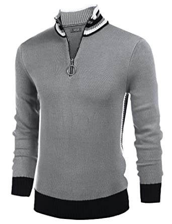 54a873b4f COOFANDY Men's Casual Quarter Zip Pullover Sweater Slim Fit Long Sleeve  Polo Sweaters,Light Gray