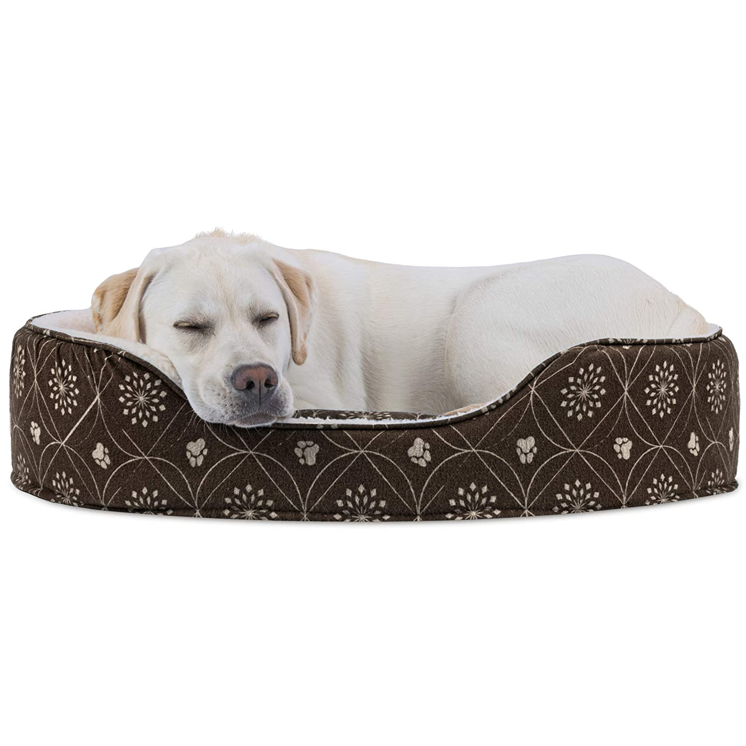 Dark Espresso X-Large Dark Espresso X-Large FurHaven Pet Dog Bed   Print Flannel Oval Pet Bed for Dogs & Cats, Dark Espresso, X-Large