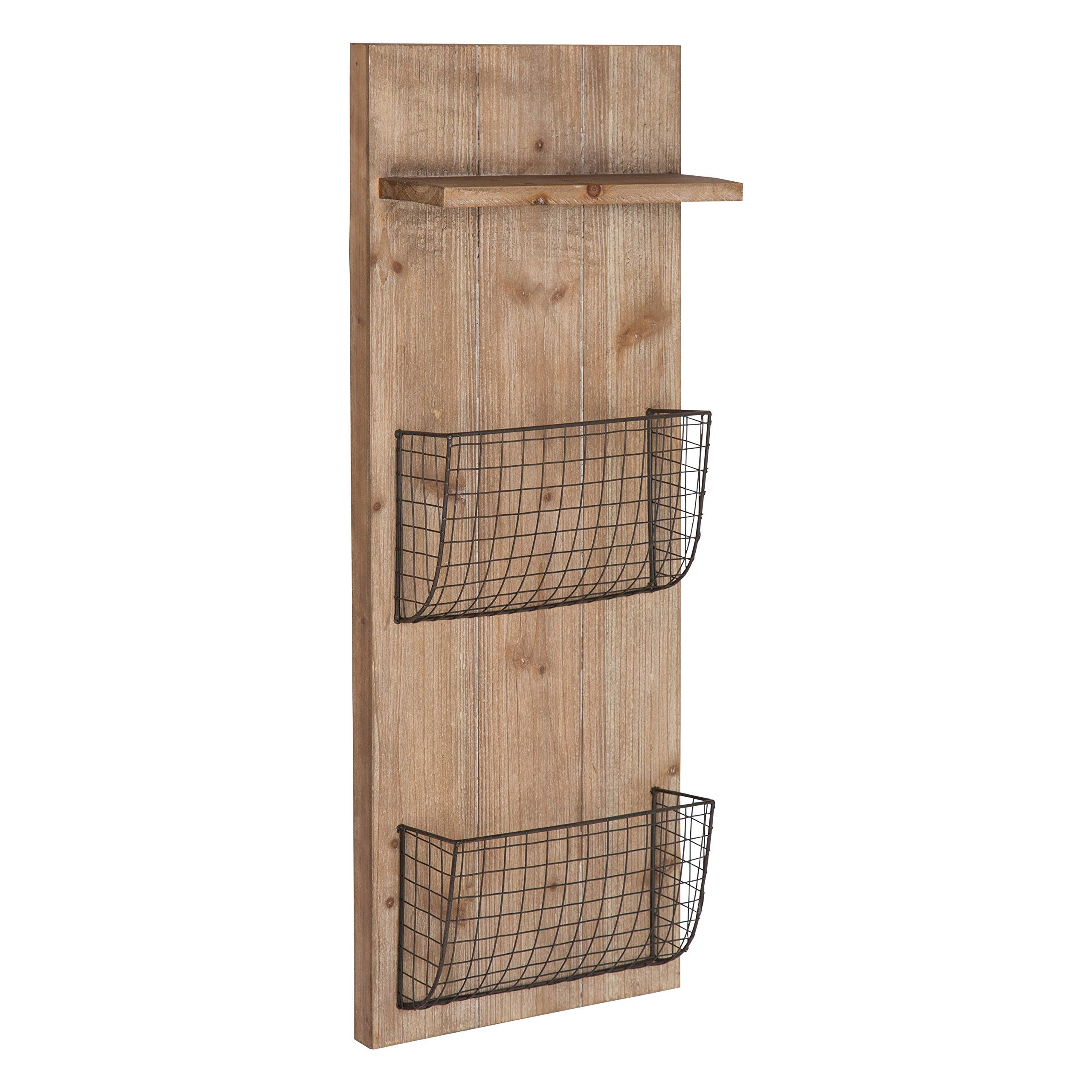 Kate and Laurel Wilden Farmhouse Style Wood Metal Wall Wire Mesh Storage Pockets Display Shelf Organizing Unit, Rustic Brown