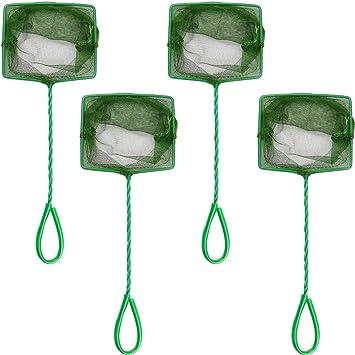 4 Inch Quick Catch Mesh Nylon Fishing Nets with Plastic Handle Awpeye 4 Pcs Aquarium Fish Net Green