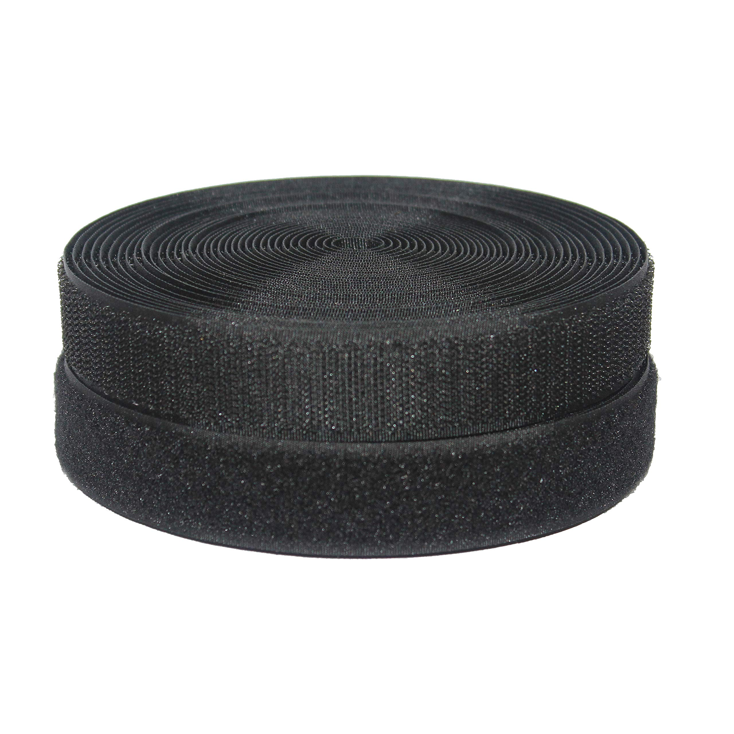 HUAYY 1 inches Width 9 Yards Length,Sew on Hook and Loop Style,Non-Adhesive Nylon Strips Fabric,Black (1in x 9yd)