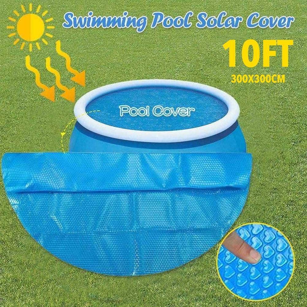 RecoverLOVE Cubierta Solar Redonda de 10 pies, Cubierta de Piscina de 300x300cm, plástico de Burbujas, protección UV para Piscina Inflable, bañera de hidromasaje, Mantener el Agua Caliente