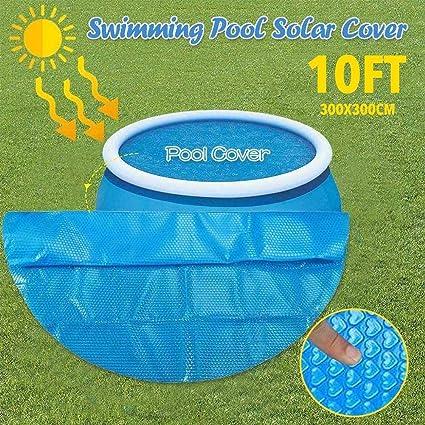 RecoverLOVE Cubierta Solar Redonda de 10 pies, Cubierta de Piscina de 300x300cm, plástico de Burbujas, protección UV para Piscina Inflable, bañera de ...